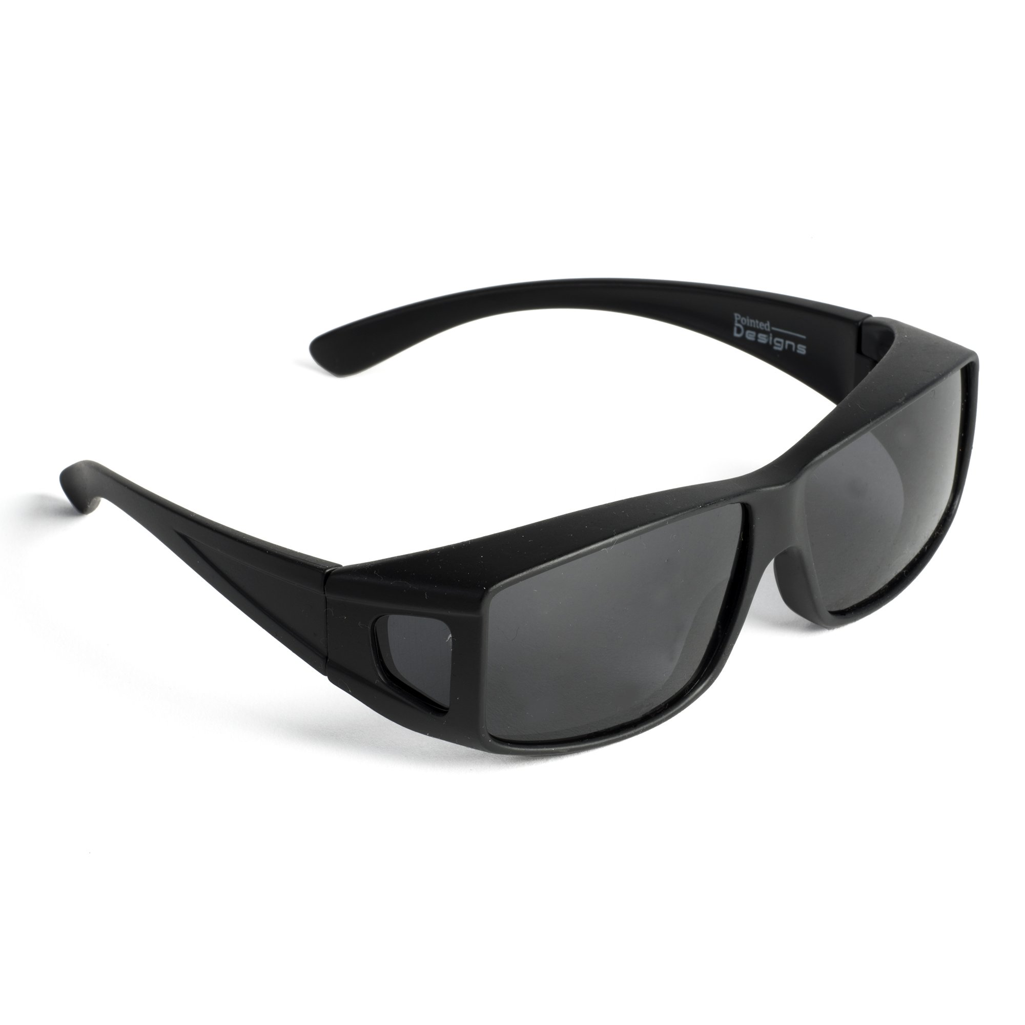 Over Glasses Sunglasses - Polarized Fitover Sunglasses with 100% UV Protection - Style 2 By Pointed Designs (Black)