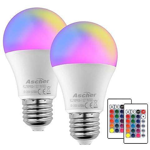 Ascher 2er Pack RGB LED Lampen, 7W E27 Base Dimmbare Farbwechsel ...
