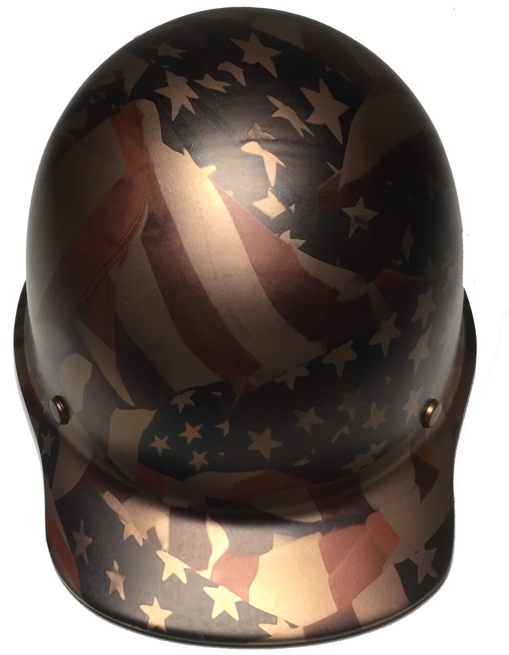 Hard Hat MSA Skullgard Cap Style Custom Copper Metallic American Flags Satin by Bag R Buck (Image #3)