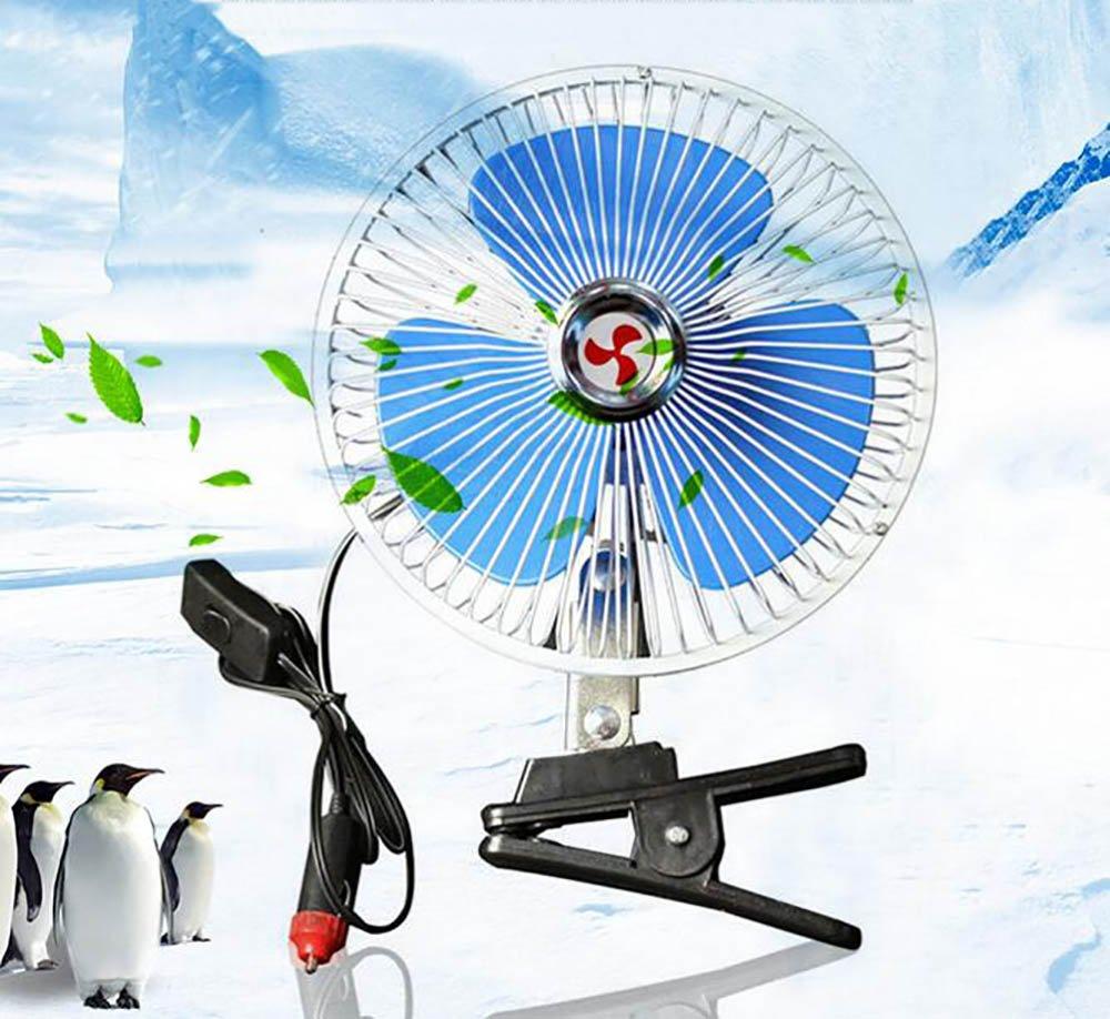 QXXZ Portable Auto Car Adjustable Oscillating Fan, 12V Volt Fans Desktop Personal Fan With Clip Cigarette Lighter Plug