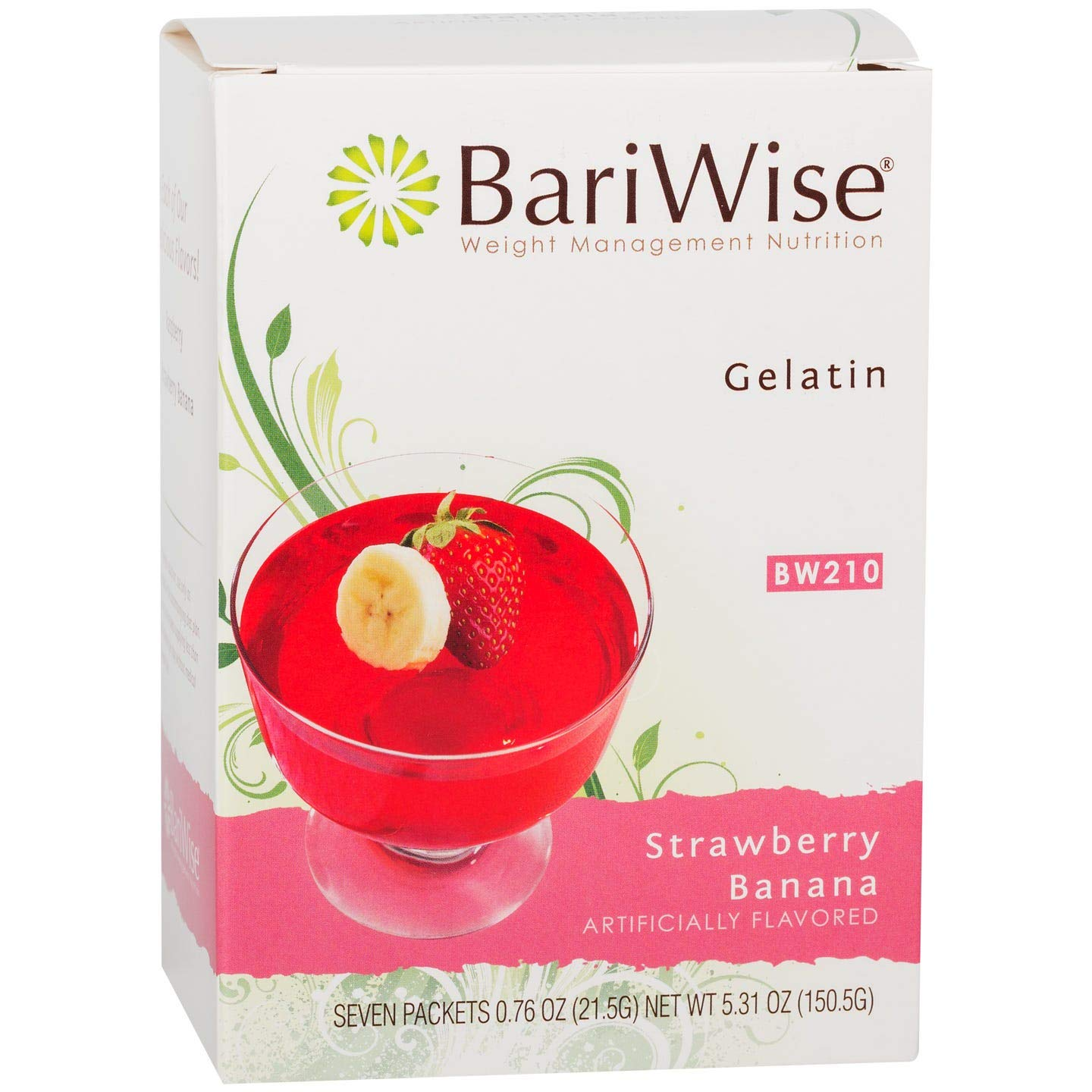 BariWise Low-Carb High Protein Diet Gelatin - Strawberry Banana (7 Servings/Box) - Fat Free, Sugar Free, Low Carb, Low Calorie, Aspartame Free