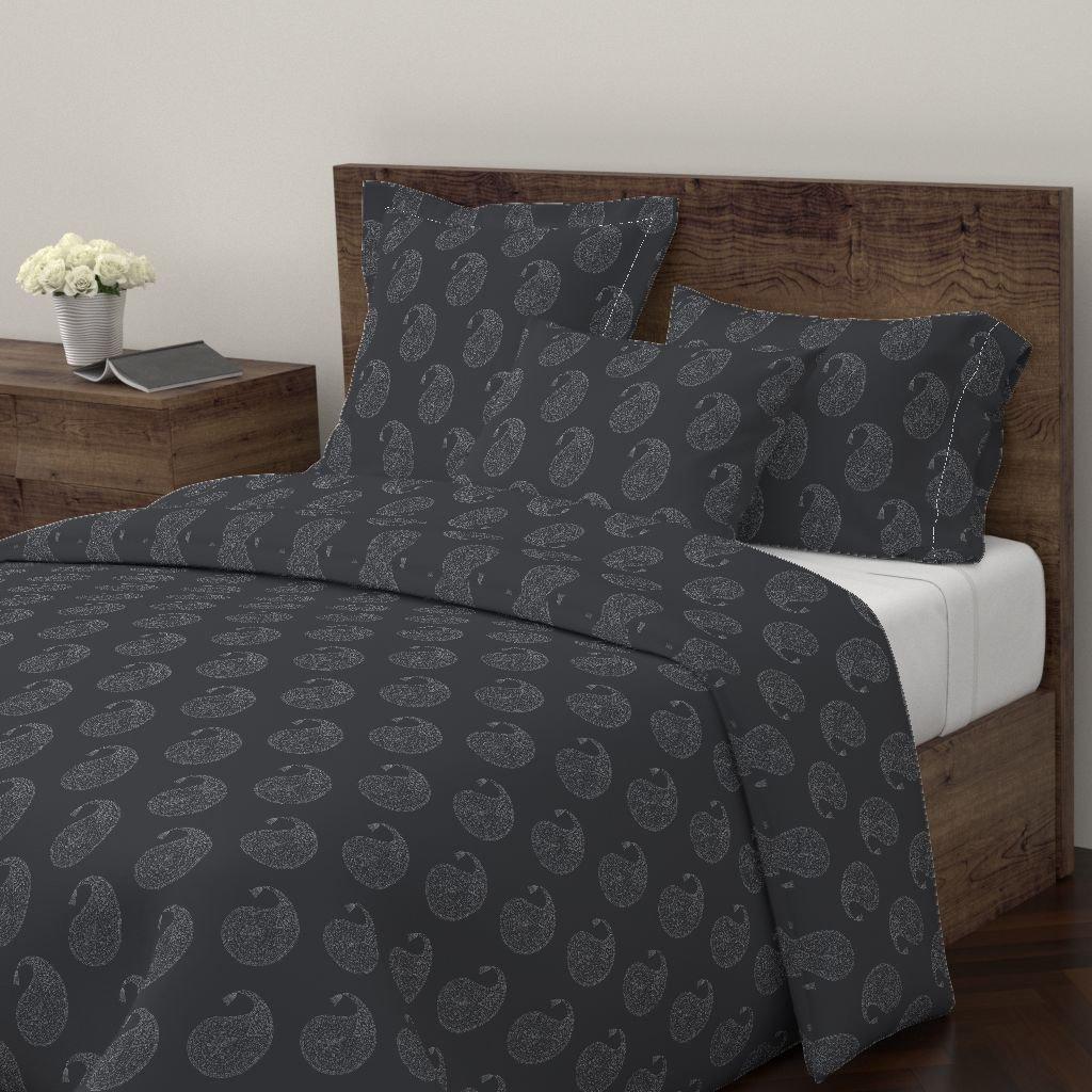 Paisley Duvet Cover India Wood Block Black Duvet Decor Upholstery by Domesticate 100% Cotton Queen Duvet Cover