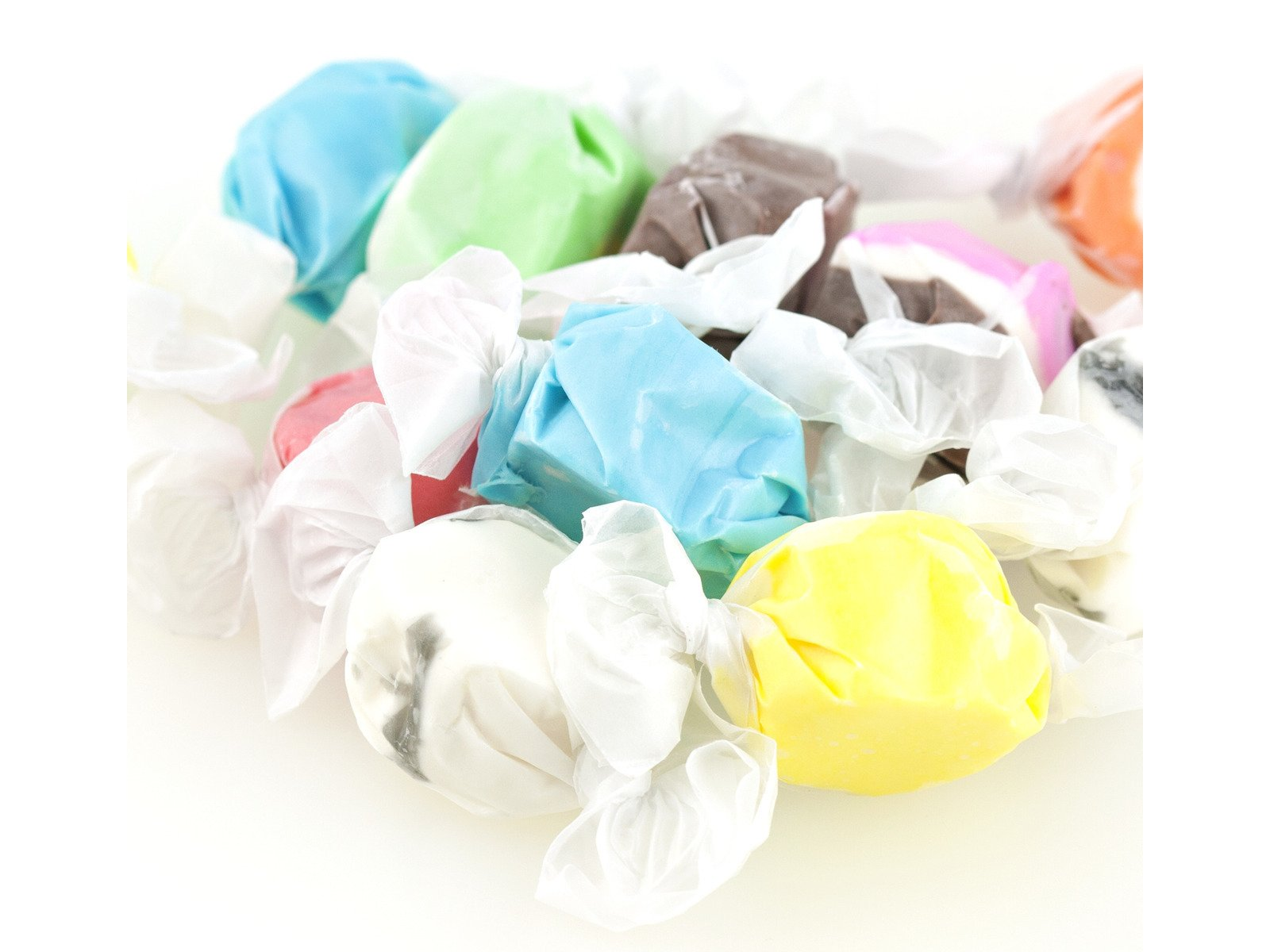Assorted Saltwater Taffy Bulk Candy (3 lb) Flavors Chocolate, Huckleberry, Peppermint, Banana, Vanilla, and More by West End Foods