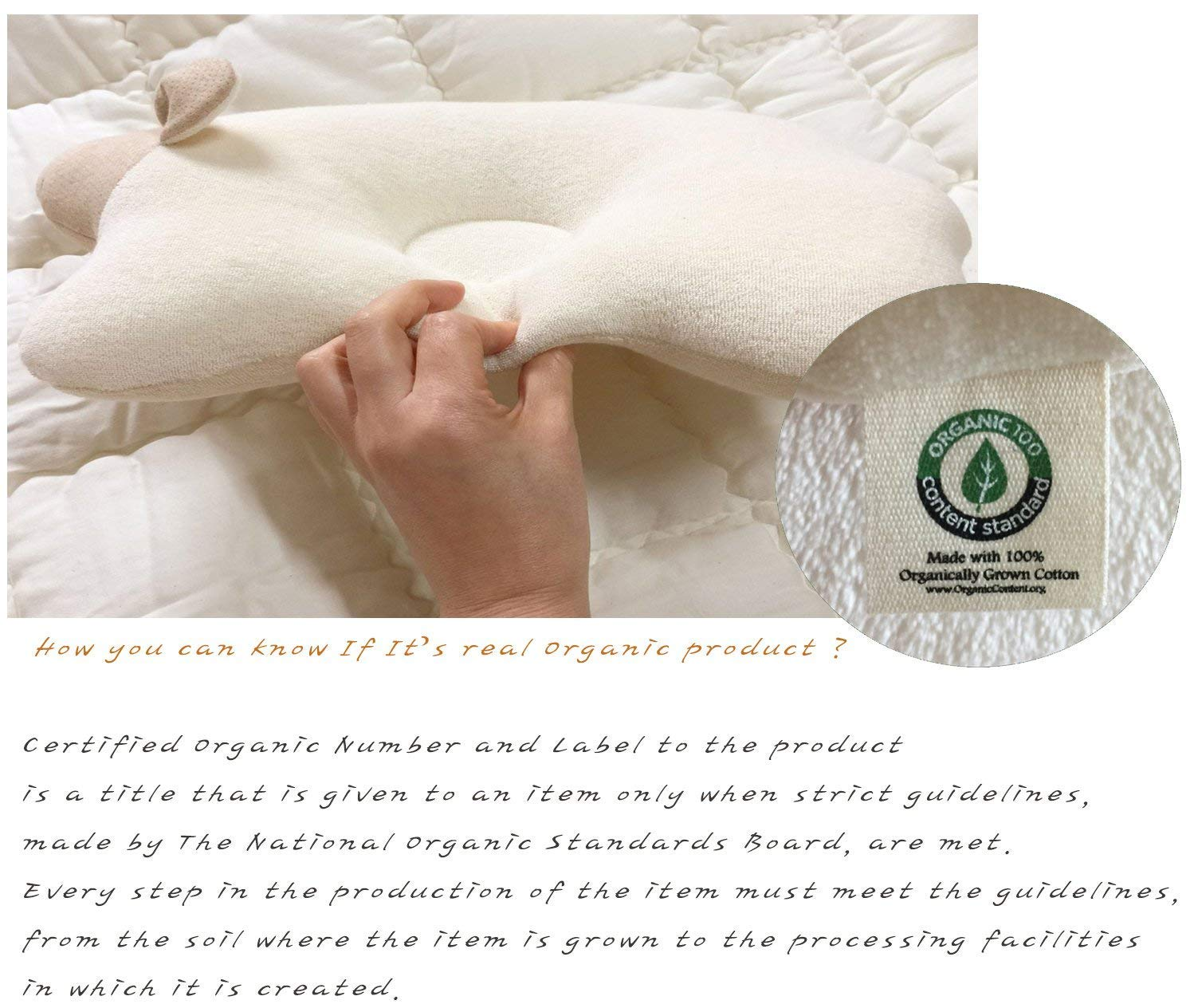 Basic Dot Organic Cotton Baby Protective Sleeping Pillow.From Newborn Prevent from flat head.Natural Organic