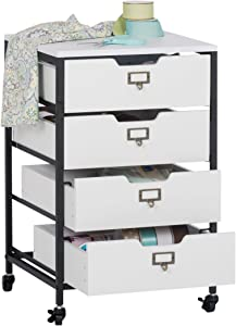 "Sew Ready Charcoal/White 27"" H 4-Drawer Mobile Storage Organizer Cart for Bathroom, Kitchen, Crafts, Home Office or Laundry Rooms"