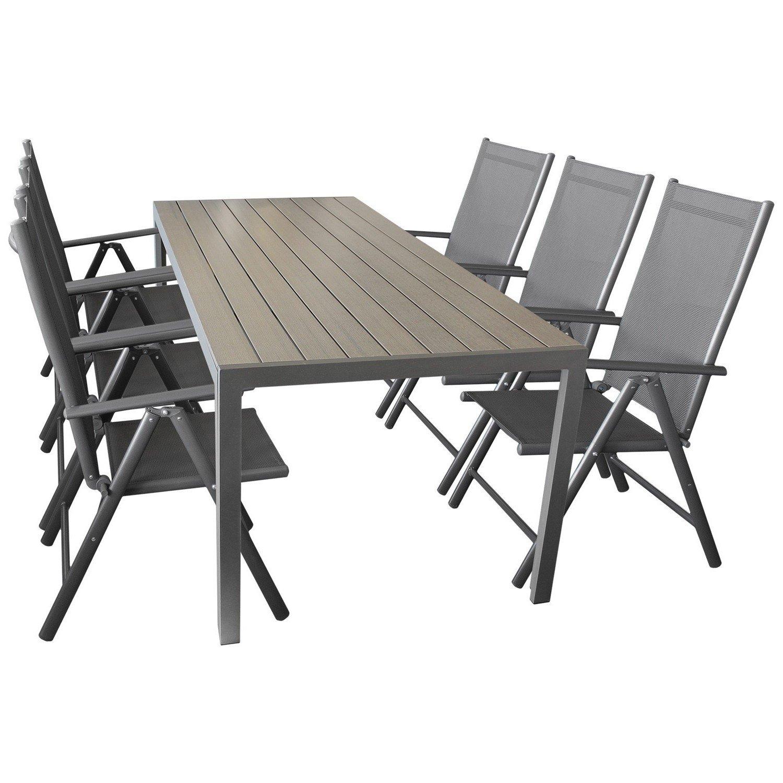 Details Zu Sitzgruppe Gartengarnitur Gartenmöbel Terrassenmöbel Set  7 Teilig U2013 Gartentisch, Aluminium, Polywood Tischplatte, 205x90cm + 6x  Hochlehner, ...