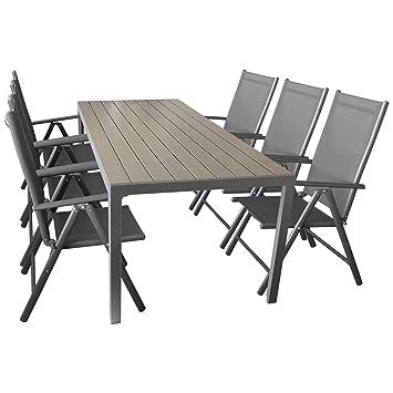 Wohaga Sitzgruppe Gartengarnitur Gartenmöbel Terrassenmöbel Set 7 Teilig    Gartentisch, Aluminium, Polywood