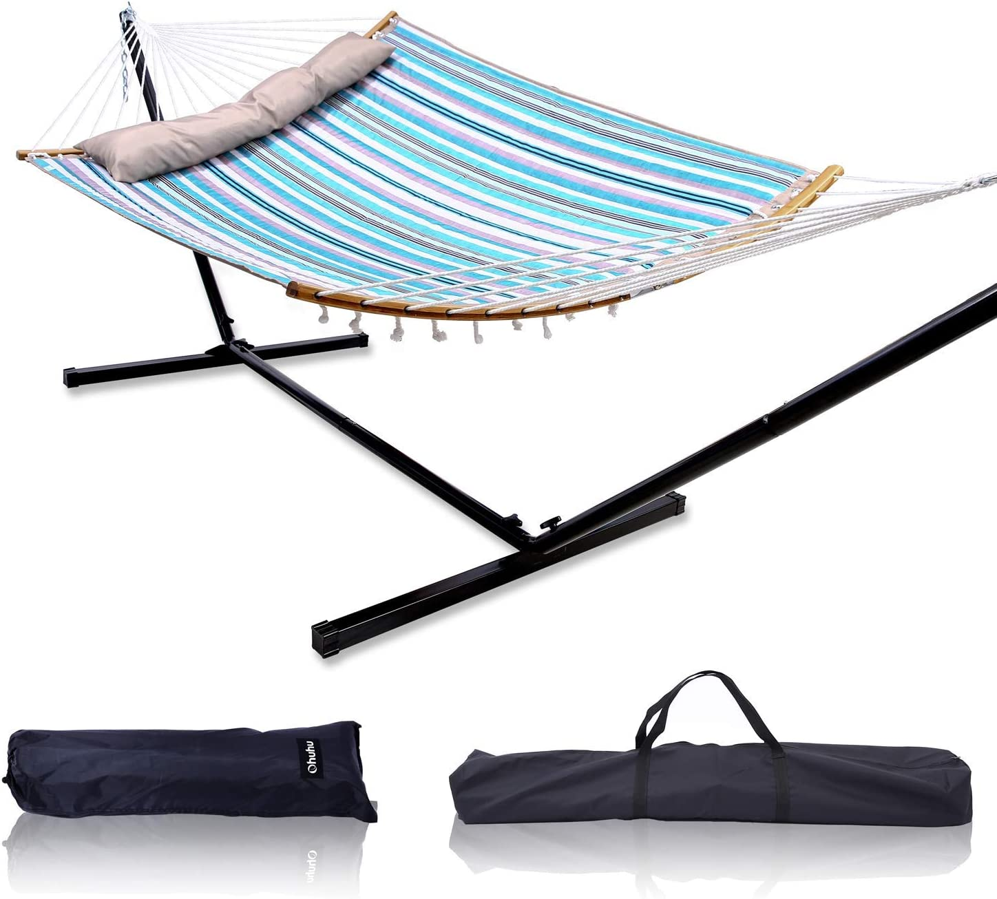 "Ohuhu Double Hammock with 12.8 FT Hammock Stand, 55"" x 75"" Quilted Fabric Hammock Swing with Strong Curved-Bar Bamboo & Pillow, Stable Detachable Metal Stand, Bonus 2 Carrying Bag, Blue & White Strip: Furniture & Decor"