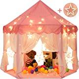 Sunnyglade 55'' x 53'' Princess Tent with 8.2 Feet Big and Large Star Lights Girls Large Playhouse Kids Castle Play Tent for Children Indoor and Outdoor Games