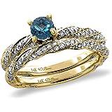 14K White/Yellow Gold Diamond Natural London BlueTopaz 2pc Twisted Engagement Ring Set Round 4mm, size5-10