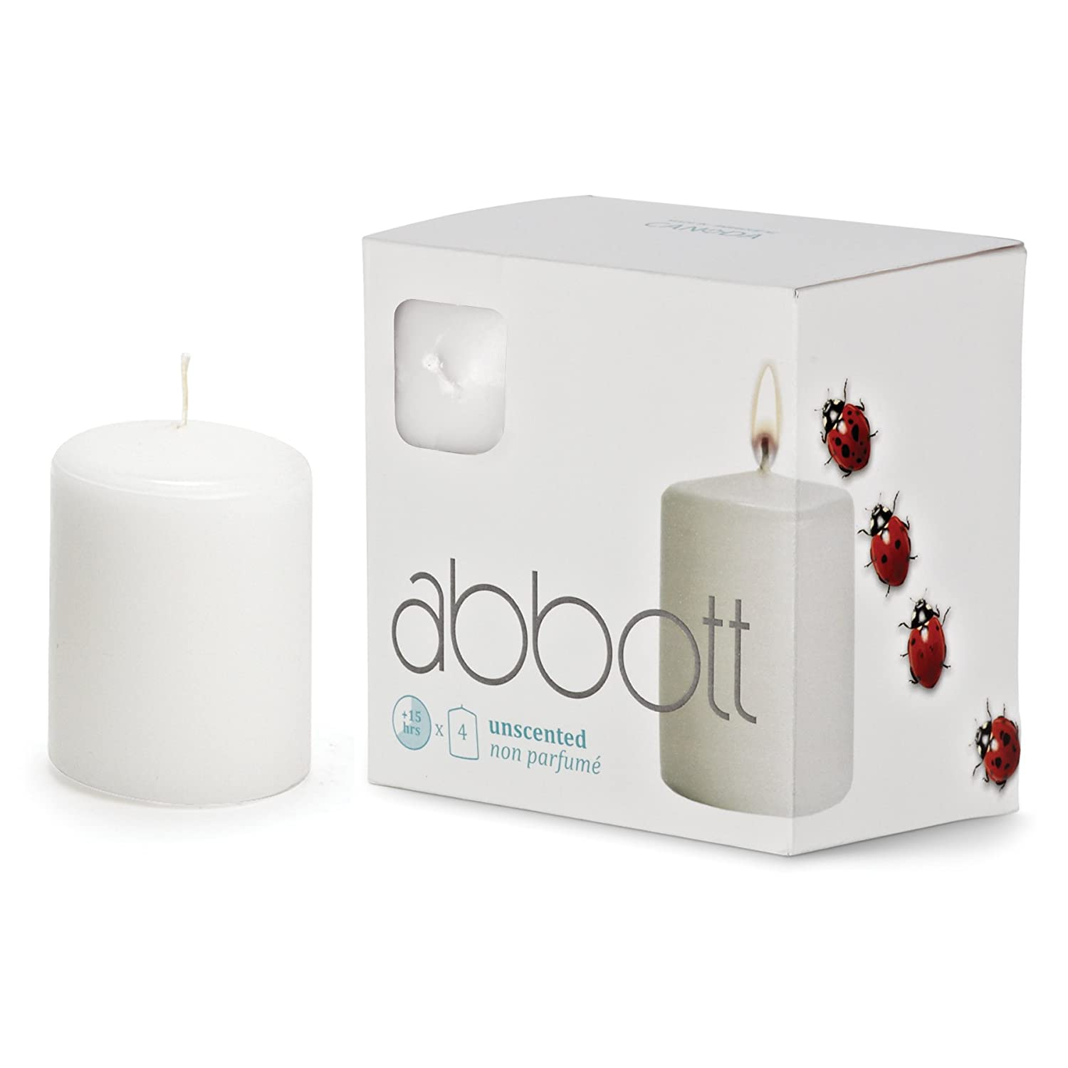 Abbott Collection Home Box of 4 Small Slim White Pillar Candles NEOCAN 10-PF/322