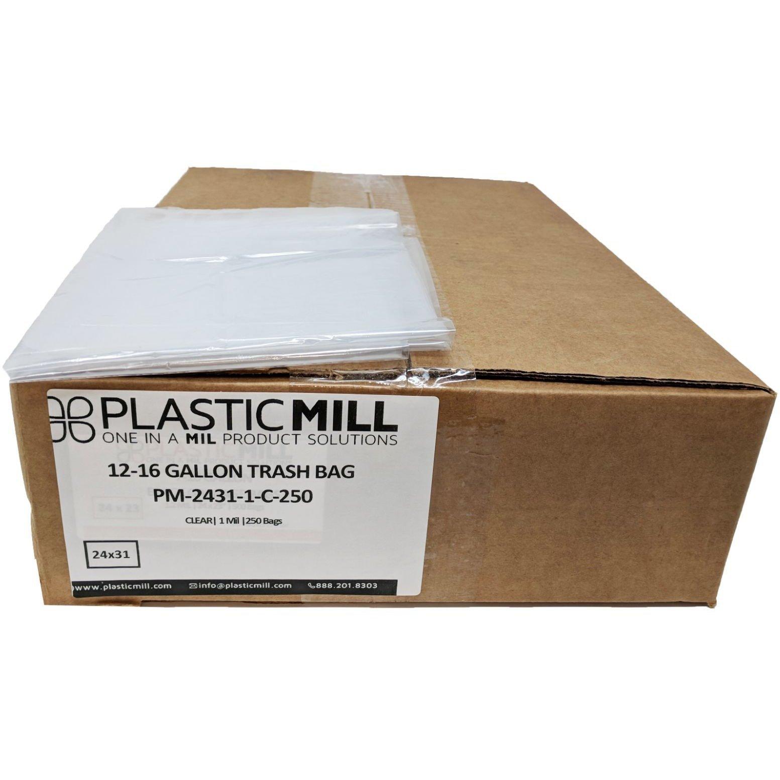 PlasticMill 12-16 Gallon, Clear, 1 Mil, 24x31, 250 Bags/
