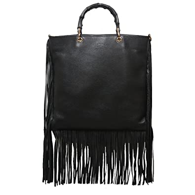 c7a1f3640983 Gucci Bamboo Shopper 2-Way Black Leather Fringe Hobo Bag 349195 A7M0V 1000