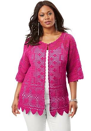 Roamans Womens Plus Size Scallop Trim Crochet Cardigan At Amazon