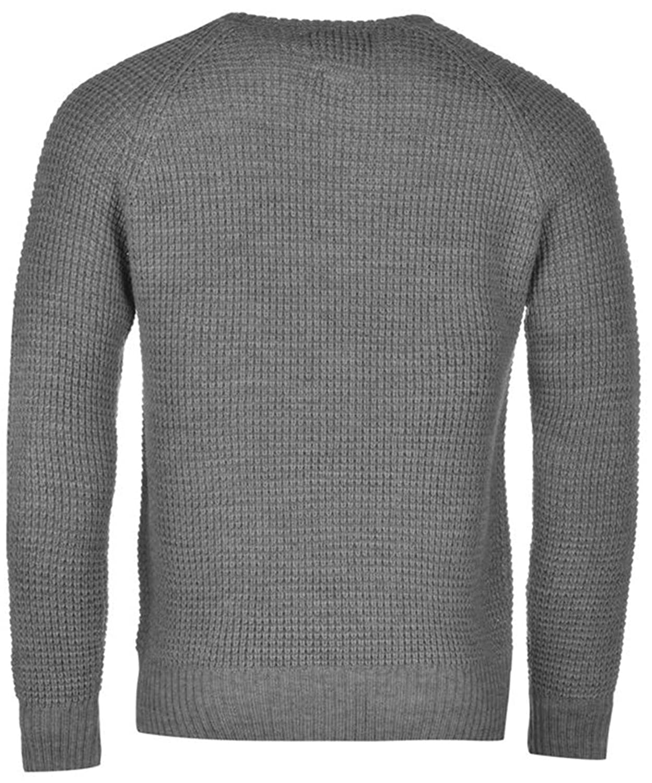Mens Stylish Casual Waffle Crew Knit Jumper Sweatshirt