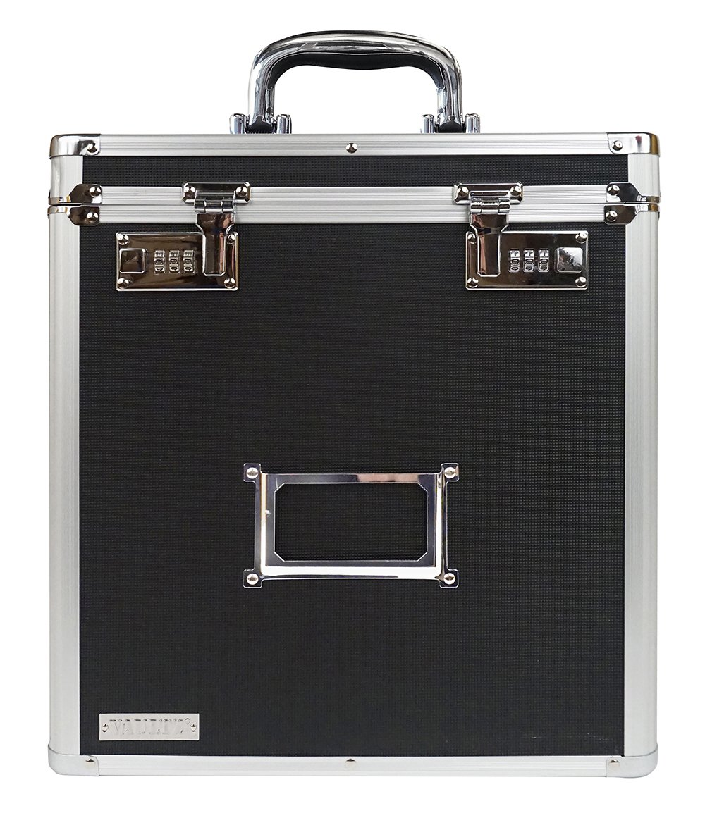 Vaultz VZ00490 Locking Vinyl Record Storage Case with 2 Combination Locks, Holds up to 50 Records, 14.4 x 13.4 x 9.6 inches, Black and Silver
