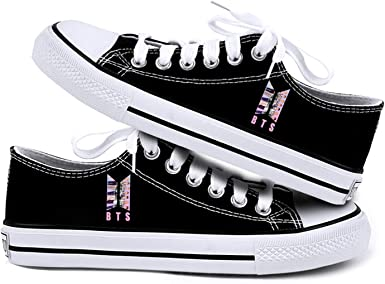 BTS Shoes,Kpop RM Suga Jimin V Jungkook Canvas Sneakers for Women and Lovers