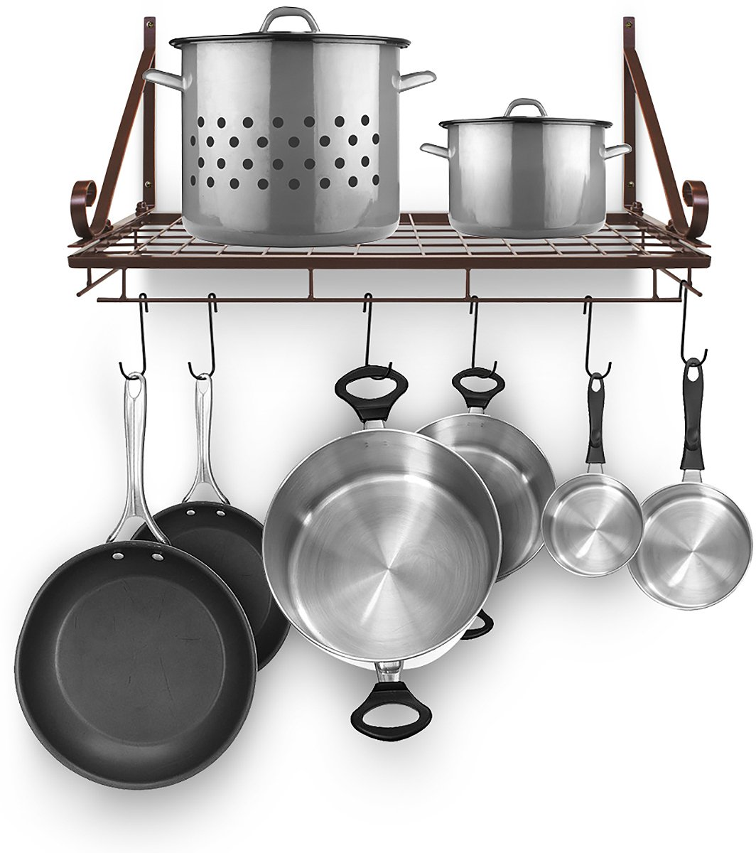 Sorbus Pots and Pan Rack — Decorative Wall Mounted Storage Hanging Rack — Multipurpose Wrought-Iron shelf Organizer for Kitchen Cookware, Utensils, Pans, Books, Bathroom (Wall Rack - Black) POT-WLHNG-BLKA