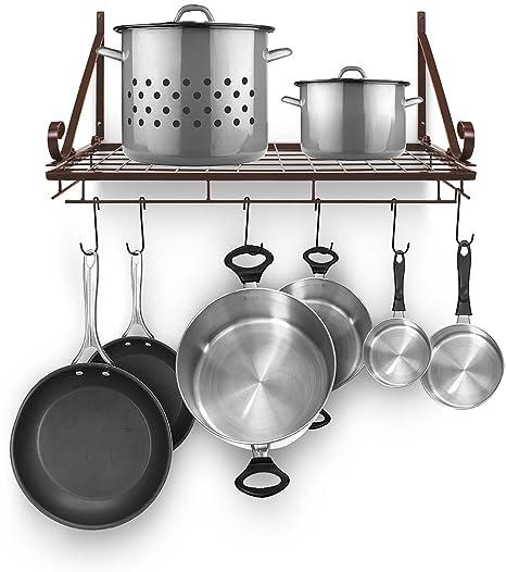 Sorbus Pots and Pan Rack — Decorative Wall Mounted Storage Hanging Rack —  Multipurpose Wrought-Iron shelf Organizer for Kitchen Cookware, Utensils,  ...