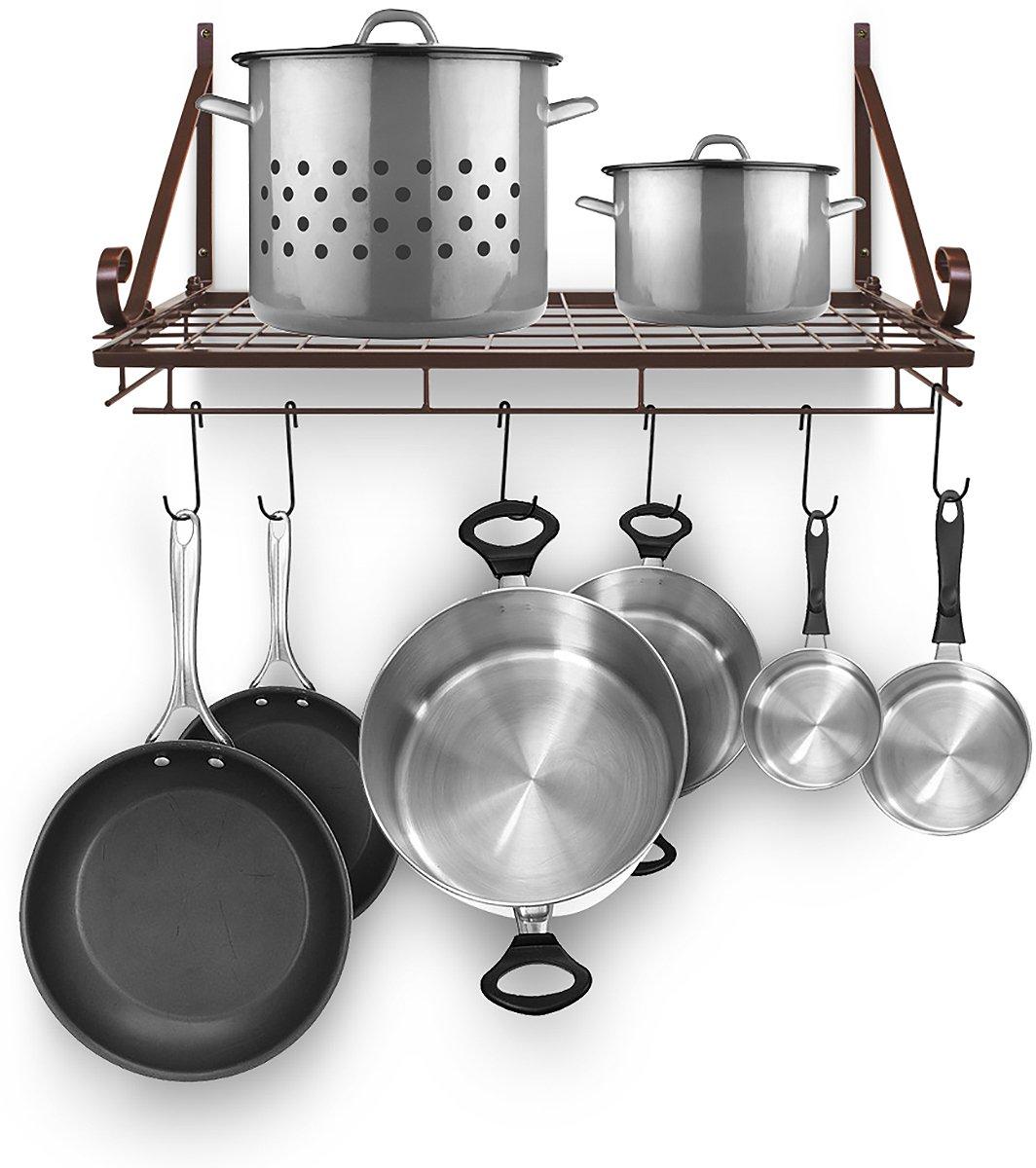 Sorbus Pots and Pan Rack — Decorative Wall Mounted Storage Hanging Rack — Multipurpose Wrought-Iron shelf Organizer for Kitchen Cookware, Utensils, Pans, Books, Bathroom (Wall Rack - Bronze)