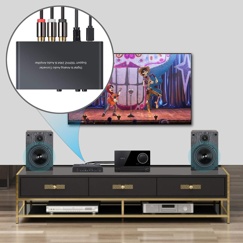 PROZOR DAC Converter 192 kHz Convertidor de Audio Digital a Analógico con Control Remoto Toslink Digital Coaxial a Estéreo Analógico L/R RCA Jack 3,5 mm con Regulador Volumen: Amazon.es: Electrónica