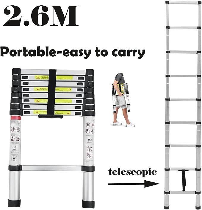 Escalera extensible de aluminio plegable telescópica de 2,6 m – escalera de goma antideslizante de 2,4 m: Amazon.es: Bricolaje y herramientas