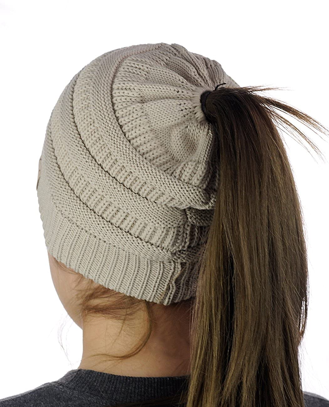 4c3d49db54f C.C BeanieTail Cotton Blend All Season Daily Messy High Bun Ponytail Beanie  Hat