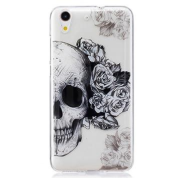 ZXLZKQ Huawei Y6 II/Huawei Honor 5A Carcasa Transparente Accesorios Cartoon Negro Rose Cabeza 3D TPU Gel Cubierta De Silicona Case Funda Tapa para ...