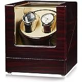 JQUEEN ワインディングマシーン ウォッチワインダー マブチモーター 時計収納 自動巻 腕時計ケース 木製 エコロジー 静音 レッド ブラウン