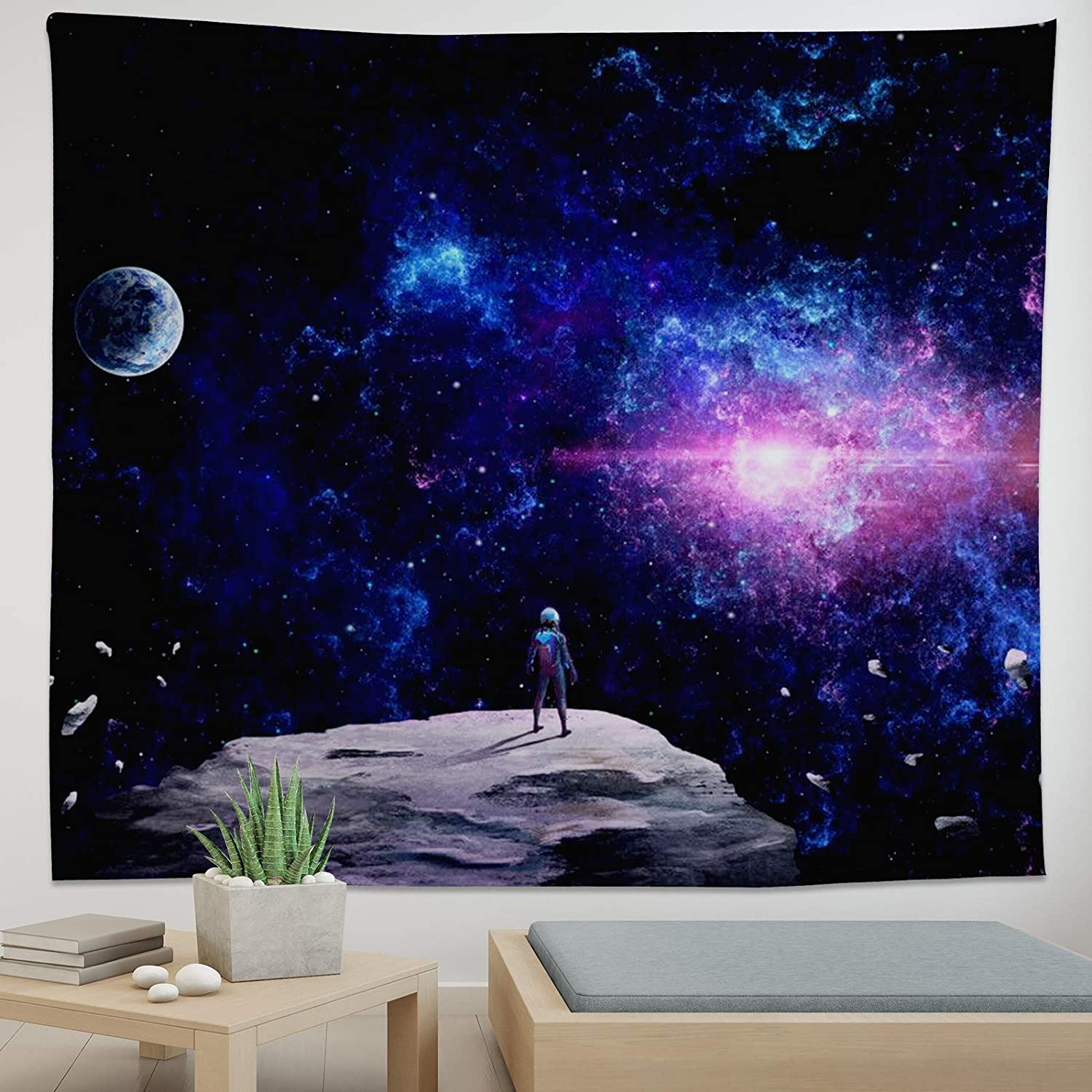 Astronaut Tapestry Fantasy Space Tapestry Galaxy Tapestry for Bedroom Living Room-H51.2×W59.1 inch