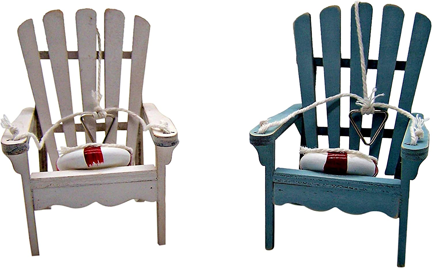 Mini Wooden Beach Chairs Christmas Ornament, Coastal Holiday Decor, White and Blue, 4 1/2 Inch, Set of 2