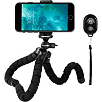 Rhodesy RS-02 Octopus Style Tripod Stand Holder with Bluetooth Remote for Camera, GoPro Hero (2018), iPhone, Smartphone with Clip