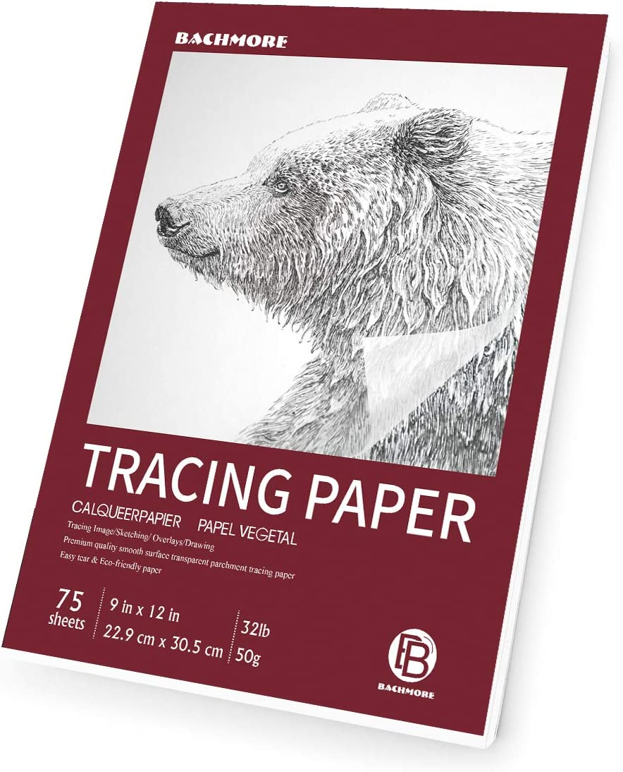 """Bachmore 9""""x12"""" Artist's Tracing Paper Pad, 75 Sheets – Translucent Tracing Paper for Pencil, Marker and Ink - Trace Images, Sketch, Preliminary Drawing, Overlays 32 LB / 50 GSM"""