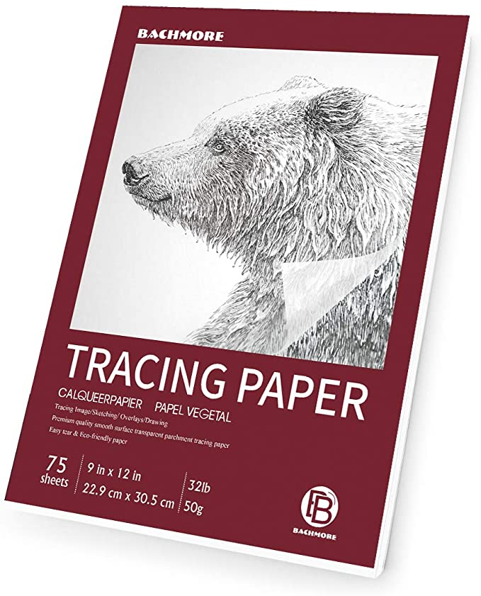 """Translucent Tracing Paper for Pencil Bachmore 9/""""x12/"""" Artist/'s Tracing Paper Medium Surface Marker and Ink Lightweight 9 X 12 100 Sheets"""