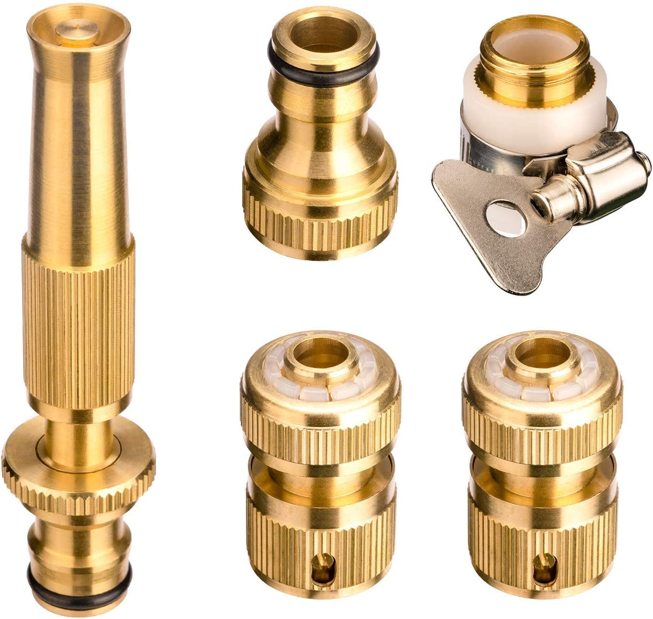 PGFUNNY Garden Hose Fitting Nozzle Brass Kit, Spray Hose Quick Connect, Fit 1/2 Inch Standard Garden Hose Perfect for Washing Car, Porch, Patio, Watering Flowers, 5 Pack