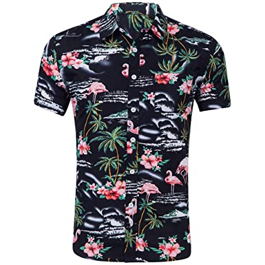 afd9a9f7 INFLATION Men's Casual Short Sleeve Button Down Print Hawaiian Shirt ...