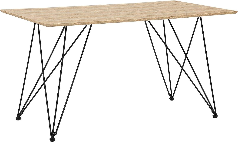 Beliani Tavolo da Pranzo allungabile Bianco e Colore Legno Chiaro 140//180 x 90 cm Sola