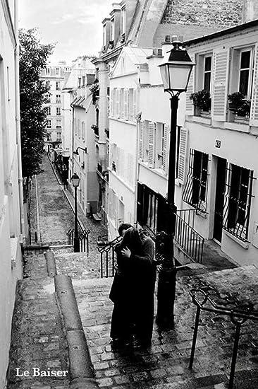 Paris - Le Baiser - Poster schwarz-weiss Foto Paris - Grösse 61x91 ...