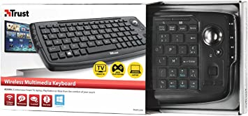 Trust - Teclado Multimedia Inalámbrico con Trackball para Controlar la Smart TV, PC o Playstation, Negro