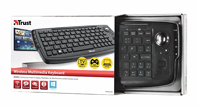 Trust Andura Wireless Entertainment - Teclado wireless con trackball Negro (Importado Italia): Amazon.es: Informática