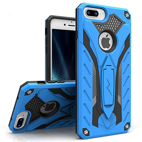 the latest f6f90 b08b7 Zizo Static Series Compatible with iPhone 8 Plus Case Military Grade Drop  Tested with Kickstand iPhone 7 Plus iPhone 6 Plus Case Blue Black