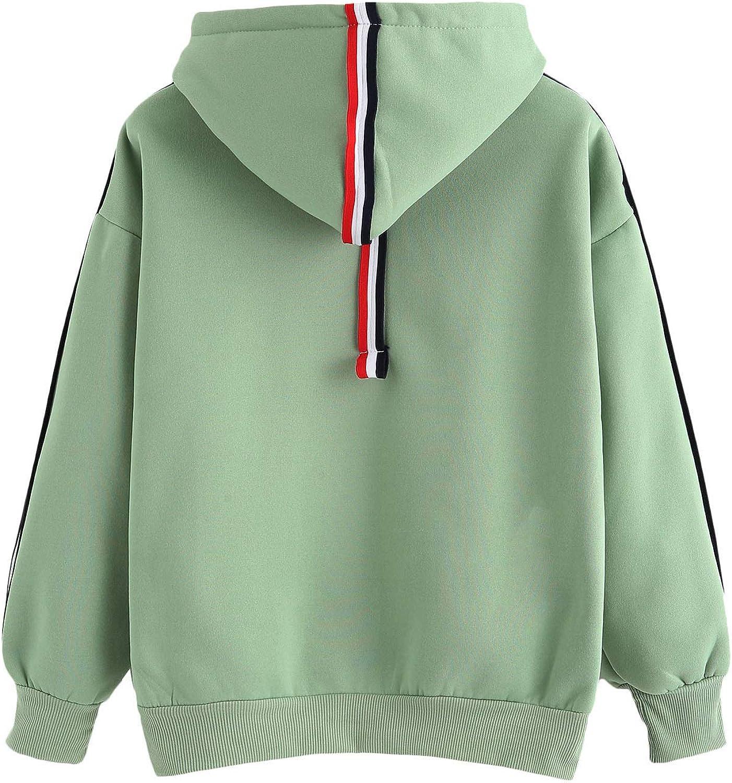 SweatyRocks Sweatshirt Pullover Fleece Drop Shoulder Striped Hoodie