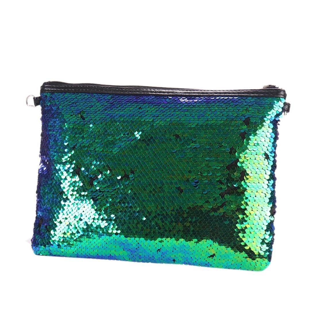 Pocciol Women Love Bag, Awesome ! Sequins Handbag Teenage Style Shoulder Bag Tote Ladies Purse (Green)