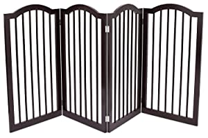 Internet's Best Pet Gate with Arched Top - 4 Panel - 36 Inch Tall Fence - Free Standing Folding Z Shape Indoor Doorway Hall Stairs Dog Puppy Gate - Fully Assembled - Espresso - MDF