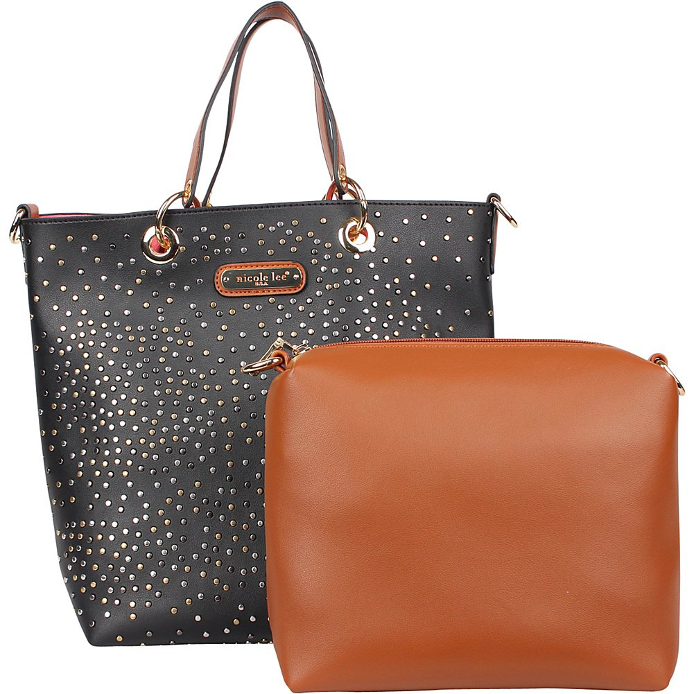 9ae2424b409b Amazon.com  Nicole Lee Zena Studded Tote with Removable Pouch (Black)  Shoes