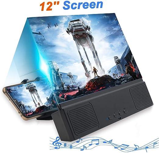 DZJ Lupa de Pantalla 3D de 12 con Altavoz Bluetooth, proyector ...