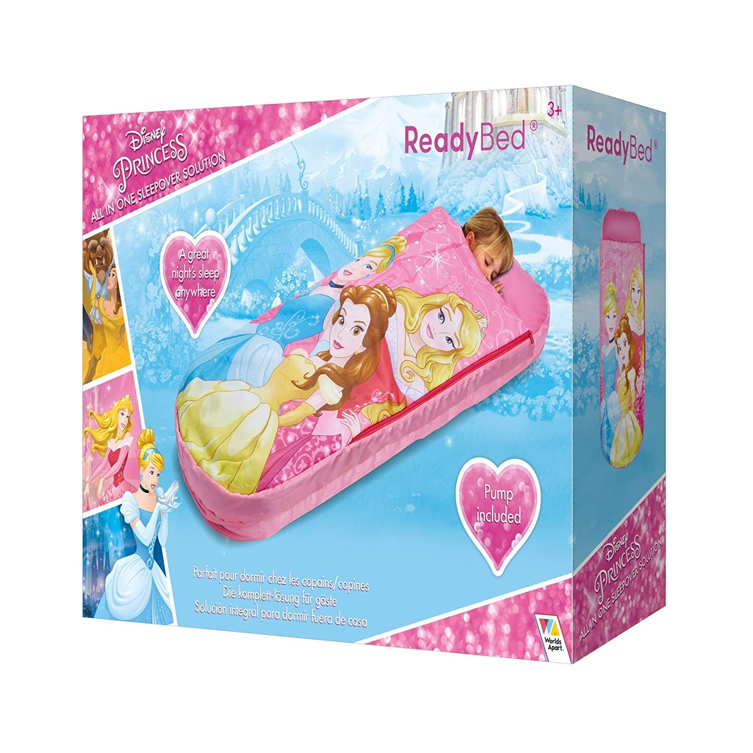 Disney Princess All in One Sleepover Bed - Airbed and Sleeping Bag in One Nap Mat Featuring Belle Cinderella and Aurora Ready Bed
