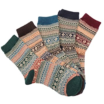 5 pares Calcetines para hombre, tejido, tukis puertas Hombres Calcetines calientes y otoño Bohemia