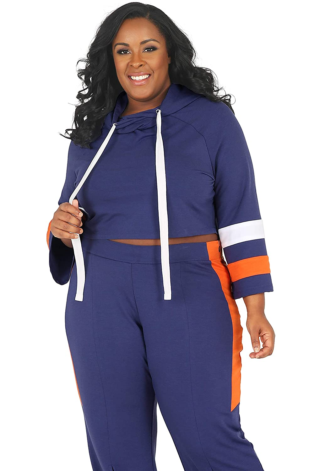 3eba37d4771 Poetic Justice Plus Size Curvy Women s Navy Orange Flare Sleeve Cropped  Hoodie at Amazon Women s Clothing store