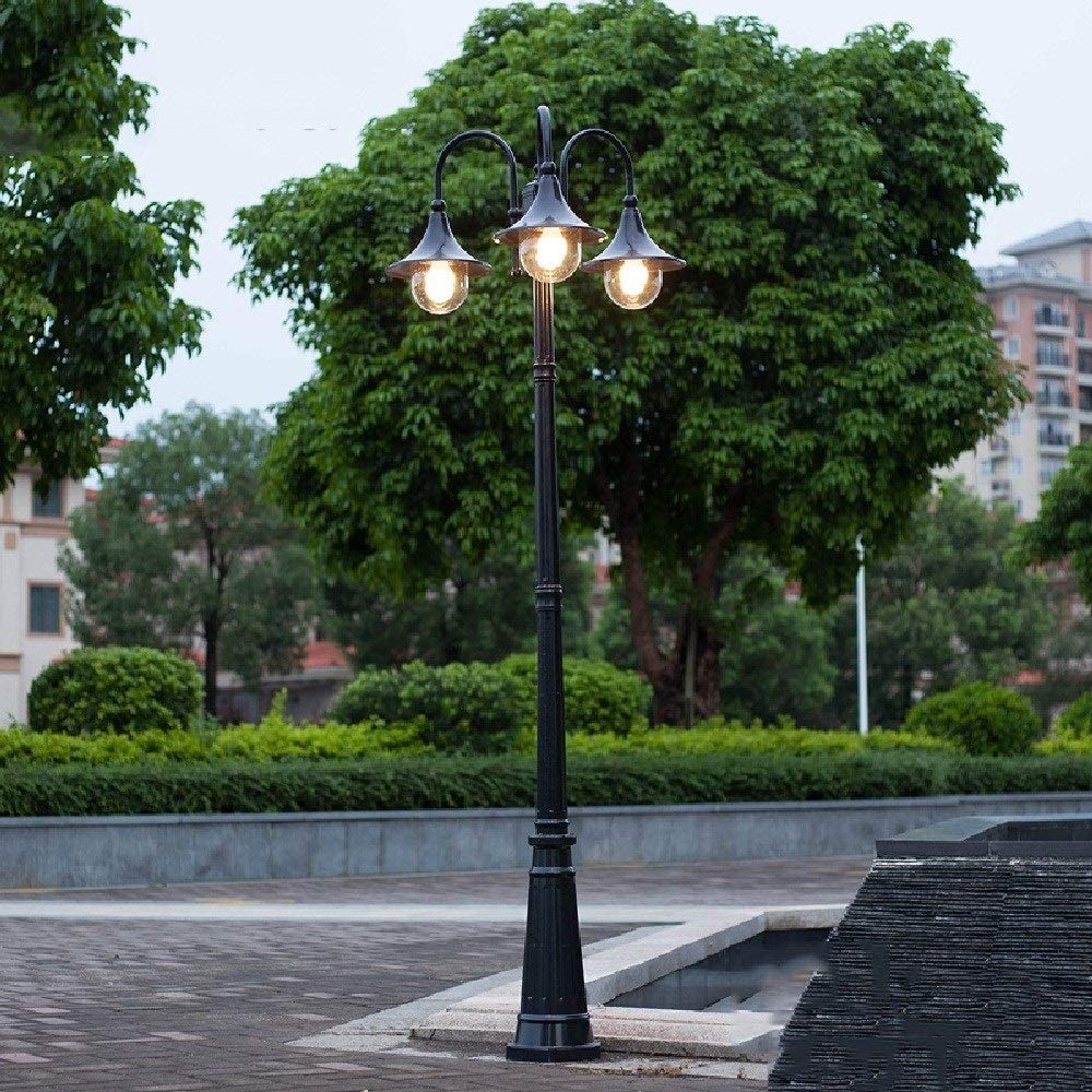 Size : H-2m LRZLZY 3-heads Ndustrial Retro Vintage Outdoor Waterproof Garden Post Lantern Rainproof Aluminum Metal High Pole Pillar Bollard Lamp E27 Street Lawn Floor Landscape Column Lighting